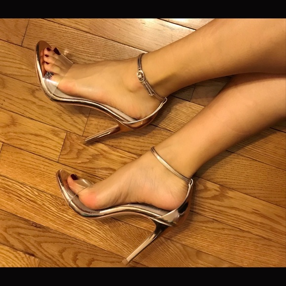 768dade72bb Steve Madden Rose Gold clear Stacy heels sandals